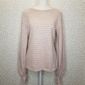 a.n.a. Pink and Gray Long Sleeve Puff Tie Sleeves